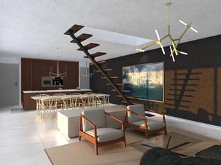 Villa Noir - View from kitchen:  Woonkamer door Schneijderberg Architectuur & Design