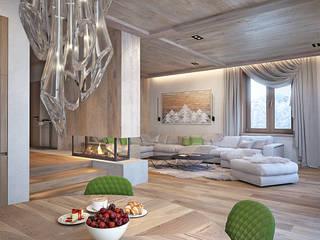 Загородный дом из бруса Гостиная в стиле минимализм от премиум интериум Минимализм