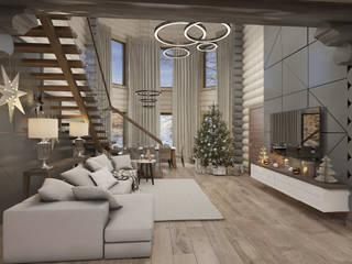 Дом из бревна Гостиная в стиле минимализм от De Style Минимализм