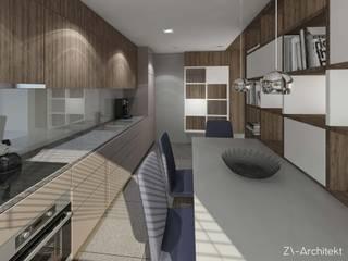 Kuchnia w domu jednorodzinnym: styl , w kategorii Kuchnia zaprojektowany przez ZA-ARCHITEKT