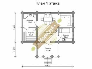 """Дом-баня из оцилиндрованного бревна """"Север"""" Спа в классическом стиле от Марисруб Классический"""