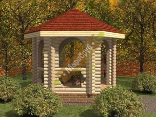 """Деревянная беседка с арочными проемами """"Летняя"""" Балкон и терраса в классическом стиле от Марисруб Классический"""