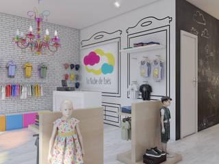 Infografías 3d de tienda de ropa infantil realizado en 2016: Vestidores de estilo  de A3D INFOGRAFIA