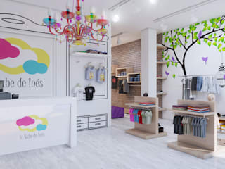 Infografías 3d de tienda de ropa infantil realizado en 2016 Vestidores de estilo moderno de A3D INFOGRAFIA Moderno