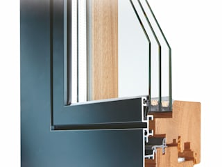 Schnitt Holz-Aluminium-Fenster Schmidinger Wintergärten, Fenster & Verglasungen Moderne Fenster & Türen Aluminium/Zink Grau