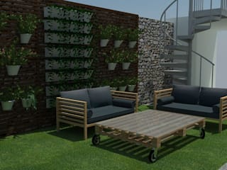 Patio con barbacoa Jardines de estilo moderno de EMS interiorismo Moderno