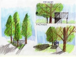 Croquis - Vivienda Unifamiliar sobre el bosque:  de estilo  por Estudio BLOT