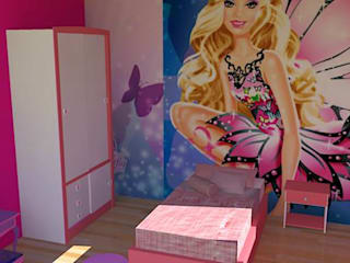 Quarto de Menina com tema Barbie : Quarto infantil  por Ellen Musatto