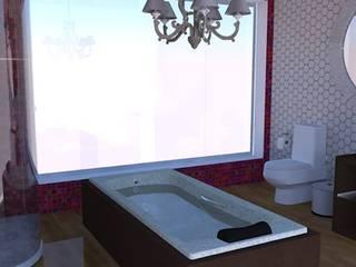 Banheiro de Suite com bela vista: Banheiros  por Ellen Musatto