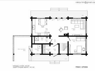 Дом из клееного бруса - 180 м2 от Архитектор Тимофей Раков