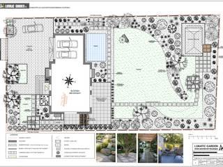 Projekt ogrodu kamiennego z basenem - rzut : styl , w kategorii  zaprojektowany przez Lunatic Garden