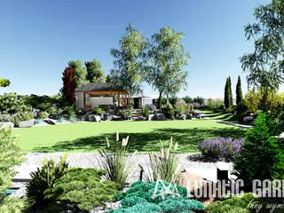 Projekt ogrodu kamiennego z basenem : styl , w kategorii  zaprojektowany przez Lunatic Garden