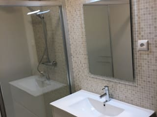 Obra Casa Branca: Casas de banho modernas por Obras & Detalhes, Engenharia e Construção