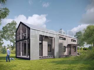 NEWOOD - Современные деревянные дома Balcone, Veranda & Terrazza in stile eclettico Legno Effetto legno