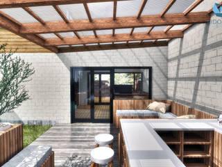 NidoSur Arquitectos - Valdivia Nowoczesny balkon, taras i weranda Drewno O efekcie drewna