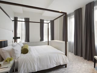 Joe Ginsberg Design Modern style bedroom Grey
