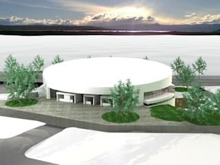 Vista del conjunto a vuelo de pájaro: Gimnasios de estilo moderno por Saldivia Arquitectos