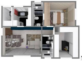 Layout apartamento 42m²: Casas ecléticas por Jéssica Faria - Designer de Ambientes