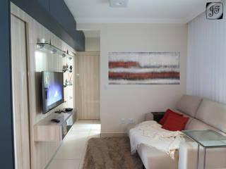 Sala integrada executada: Salas de estar ecléticas por Jéssica Faria - Designer de Ambientes