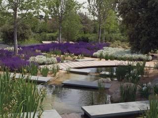 Saltos de agua de granito negro en una vivienda particular: Jardines de estilo  de Villar del Rey Natural Stones S.L.