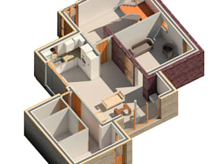 3D View of Layout :  Living room by architecture:unknown