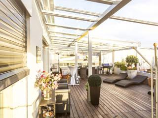 Dachverglasung über den Dächern von Linz in Alu und Glas:  Terrasse von Fenster Schmidinger
