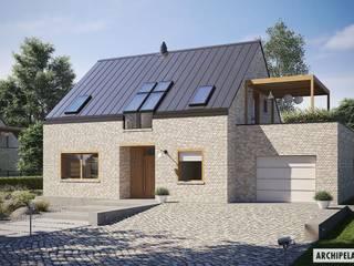 Katrina II G1 ENERGO PLUS - dom, który będzie dla Ciebie oszczędzał Nowoczesne domy od Pracownia Projektowa ARCHIPELAG Nowoczesny