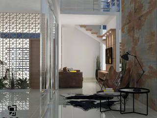 Living integrada á área de lazer: Salas multimídia  por GialloTre - Arquitetura Criativa