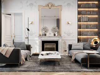 Exquisite flat in Paris: Гостиная в . Автор – Diff.Studio, Эклектичный