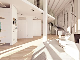 Annalisa Carli Modern Corridor, Hallway and Staircase Solid Wood White