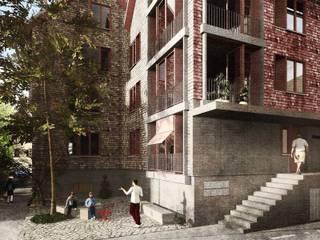 Eingang mit kleinem Dorfplatz: moderne Häuser von Lando Rossmaier Architekten AG