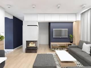 Projekt domu jednorodzinnego 9 Nowoczesny salon od BAGUA Pracownia Architektury Wnętrz Nowoczesny