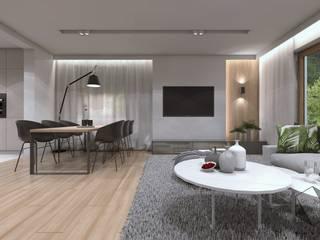 Projekt domu jednorodzinnego 12: styl , w kategorii Salon zaprojektowany przez BAGUA Pracownia Architektury Wnętrz