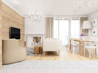 NA CIEPŁO Nowoczesny salon od UTOO-Pracownia Architektury Wnętrz i Krajobrazu Nowoczesny
