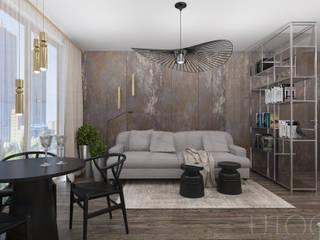 INDUSTRIALNY AKCENT Nowoczesny salon od UTOO-Pracownia Architektury Wnętrz i Krajobrazu Nowoczesny