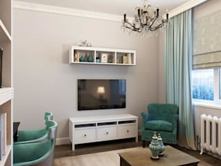 Massimos / cтудия дизайна интерьера Living room Wood Turquoise