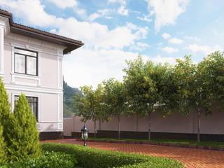Визуализация ландшафта с архитектурой частного дома Дома в классическом стиле от Москоу Дизайн Классический
