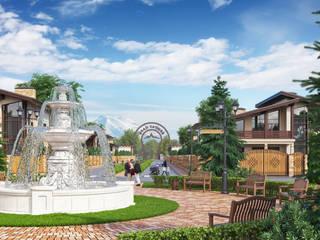 Визуализация коттеджного поселка «Бештау Парк» для инвесторов Выставочные центры в стиле кантри от Москоу Дизайн Кантри