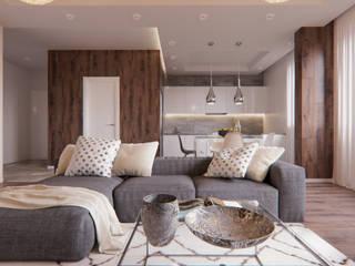 Квартира для молодого мужчины Гостиная в скандинавском стиле от PRO-DESIGN Скандинавский
