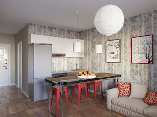 Квартира для молодой семьи. 55м2 Коридор, прихожая и лестница в стиле лофт от PRO-DESIGN Лофт