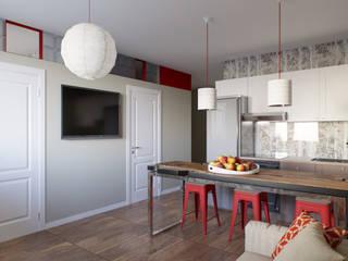 Квартира для молодой семьи. 55м2 Кухня в стиле лофт от PRO-DESIGN Лофт