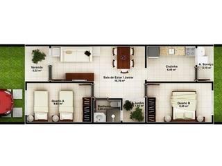 Residência Unifamiliar - Padrão Baixo: Casas  por Jéssica Pompeu - Arquiteta e Urbanista