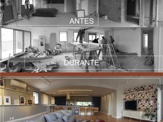 apartamento planta livre Salas de estar modernas por arquitetura Juliana Mendes Moderno