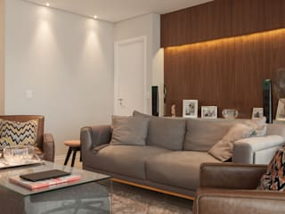 Lodo Barana Arquitetura e Interiores 现代客厅設計點子、靈感 & 圖片 木頭 Grey