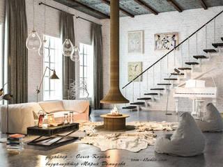 Лофт гостиная-Территория уюта: Гостиная в . Автор – Ольга Козина -  дизайнер интерьера