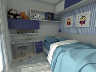 Projeto de interiores - quarto infantil menino: Quarto infantil  por Marcelle Langaro Arquitetura e Interiores