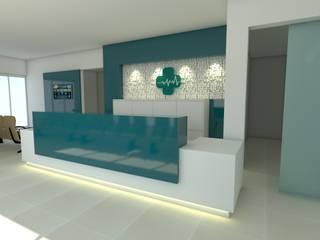 Projeto de Interiores - Recepção Clínica médica: Clínicas  por Marcelle Langaro Arquitetura e Interiores