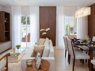 Lodo Barana Arquitetura e Interiores 现代客厅設計點子、靈感 & 圖片 Beige