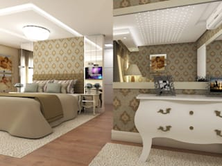 Residência Condomínio Firenze: Quartos  por Giovana Lumertz Design de Interiores,Moderno