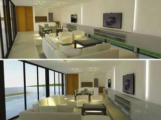 Vista de área estar comedor.: Livings de estilo moderno por ARQUIGRAF YB
